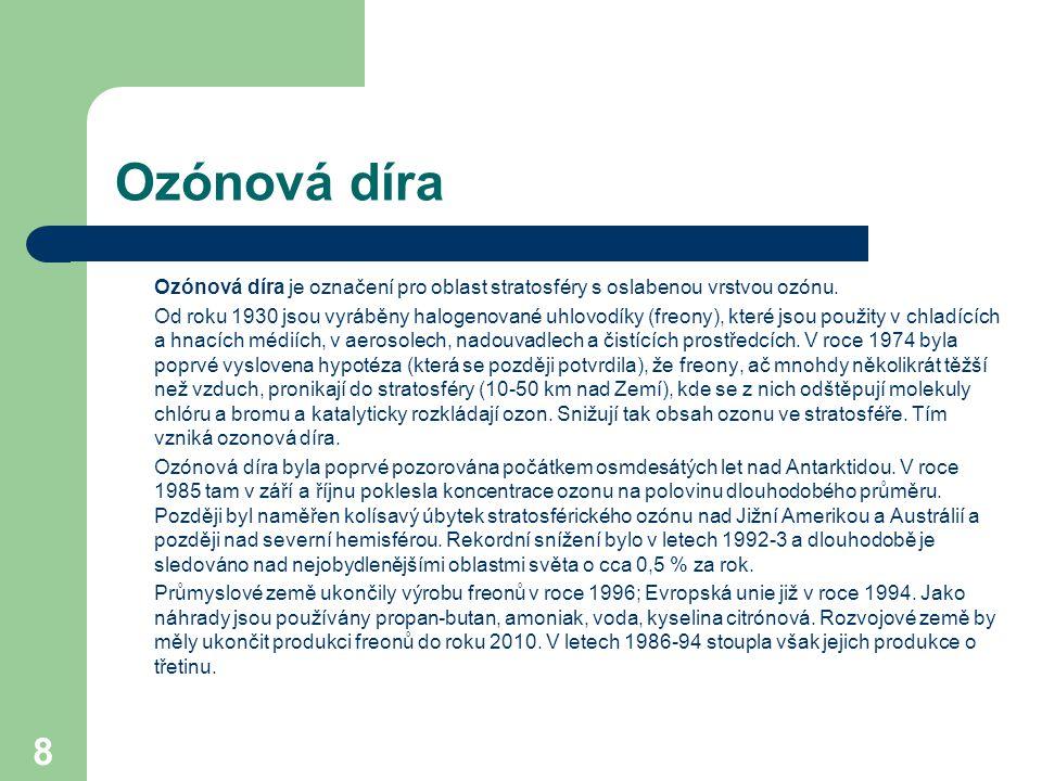 8 Ozónová díra Ozónová díra je označení pro oblast stratosféry s oslabenou vrstvou ozónu.