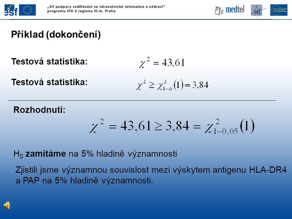 Statistická významnost Klinická významnost Je-li statistický test zamítnut (významný) na předepsané hladině α (hladina významnosti).