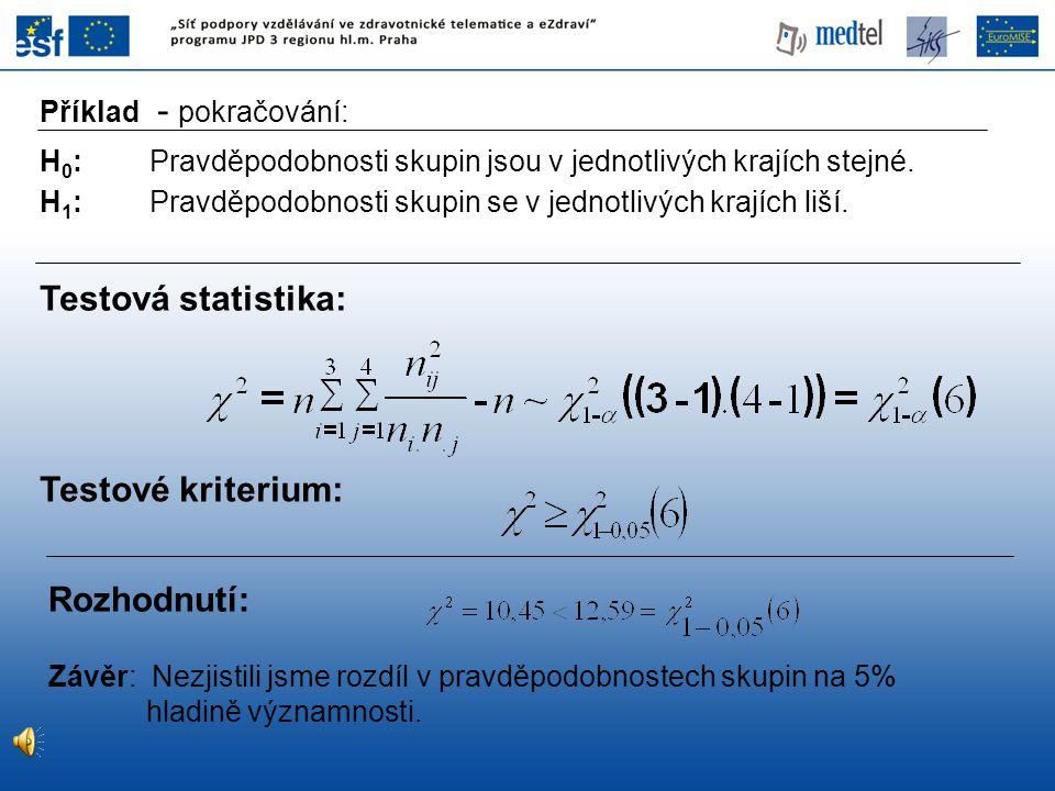 Hypotéza: H 0 : sledované znaky jsou nezávislé H 1 : sledované znaky jsou závislé Testová statistika: Test hypotézy o nezávislosti