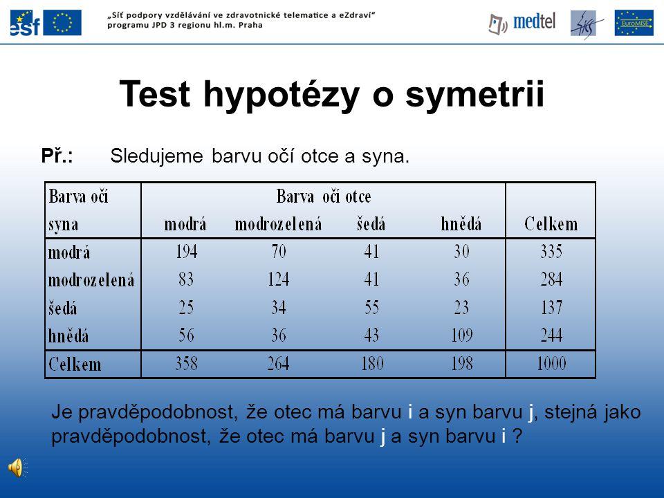 Hypotéza: H 0 : pravděpodobnosti jsou stejné H 1 : pravděpodobnosti nejsou stejné Řešení: H 0 tedy zamítáme na hladině 5%.