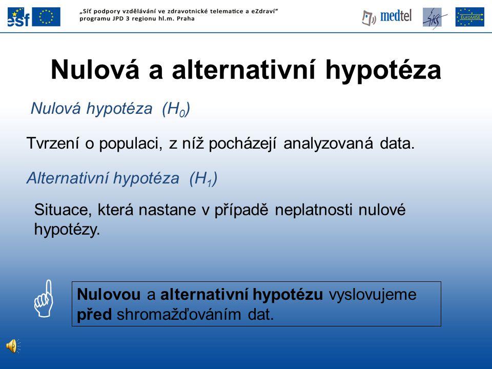 •Formulujeme nulovou hypotézu H 0 a alternativu H 1.