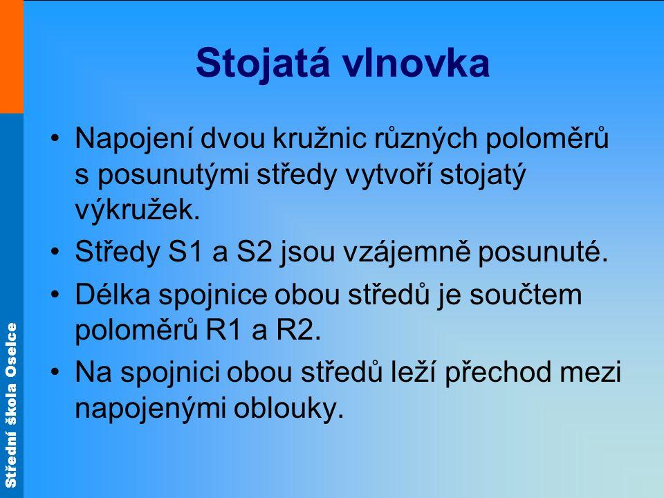 Střední škola Oselce Stojatá vlnovka •Napojení dvou kružnic různých poloměrů s posunutými středy vytvoří stojatý výkružek. •Středy S1 a S2 jsou vzájem