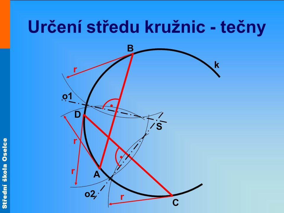 Střední škola Oselce Určení středu kružnic - trojúhelníky •Střed kružnice lze také určit pomocí dvou různě velkých pravoúhlých trojúhelníků Toto pravidlo můžeme uplatnit i opačně •Každý narýsovaný trojúhelník v kružnici, jehož odvěsna prochází středem kružnice, bude pravoúhlý