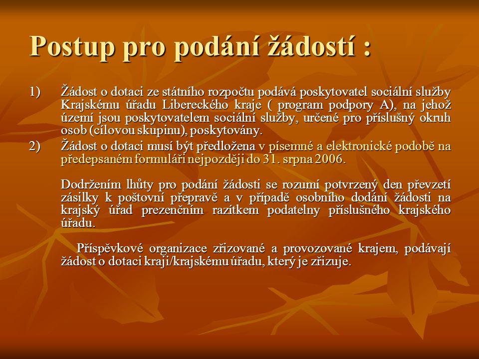 Postup pro podání žádostí : 1)Žádost o dotaci ze státního rozpočtu podává poskytovatel sociální služby Krajskému úřadu Libereckého kraje ( program pod