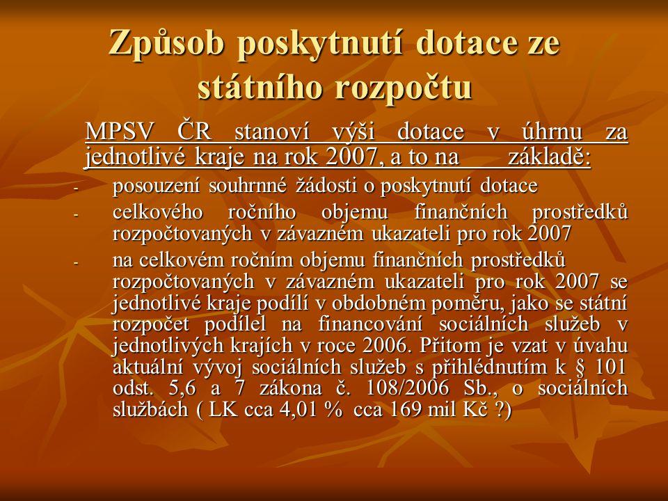Způsob poskytnutí dotace ze státního rozpočtu MPSV ČR stanoví výši dotace v úhrnu za jednotlivé kraje na rok 2007, a to na základě: - posouzení souhrn