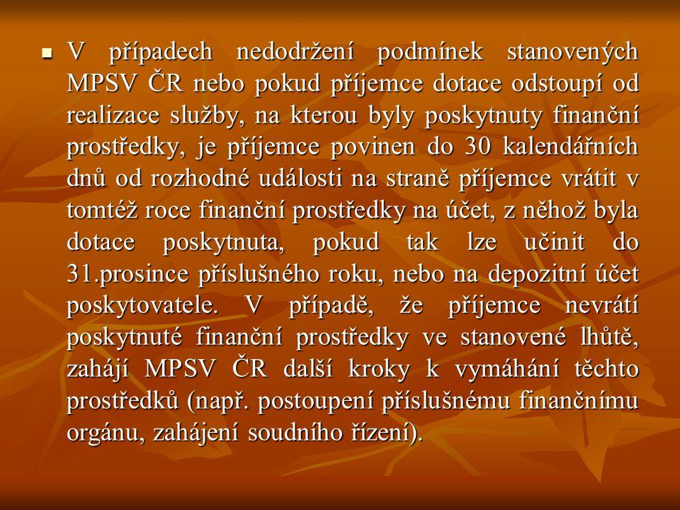  V případech nedodržení podmínek stanovených MPSV ČR nebo pokud příjemce dotace odstoupí od realizace služby, na kterou byly poskytnuty finanční pros