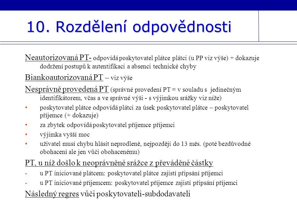 10. Rozdělení odpovědnosti Neautorizovaná PT- odpovídá poskytovatel plátce plátci (u PP viz výše) + dokazuje dodržení postupů k autentifikaci a absenc