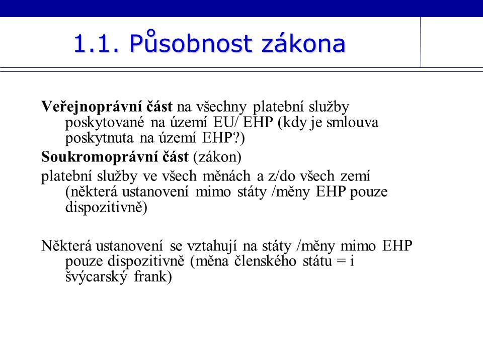 Veřejnoprávní část na všechny platební služby poskytované na území EU/ EHP (kdy je smlouva poskytnuta na území EHP?) Soukromoprávní část (zákon) plate