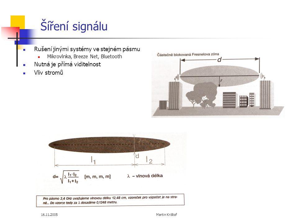 16.11.2005 Martin Krištof Šíření signálu  Rušení jinými systémy ve stejném pásmu  Mikrovlnka, Breeze Net, Bluetooth  Nutná je přímá viditelnost  Vliv stromů
