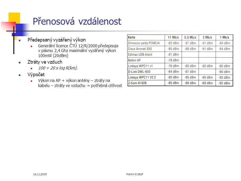 16.11.2005 Martin Krištof Přenosová vzdálenost  Předepsaný vyzářený výkon  Generální licence ČTÚ 12/R/2000 předepisuje v pásmu 2,4 Ghz maximální vyzářený výkon 100mW (20dBm)  Ztráty ve vzduch  100 + 20 x log R(km).