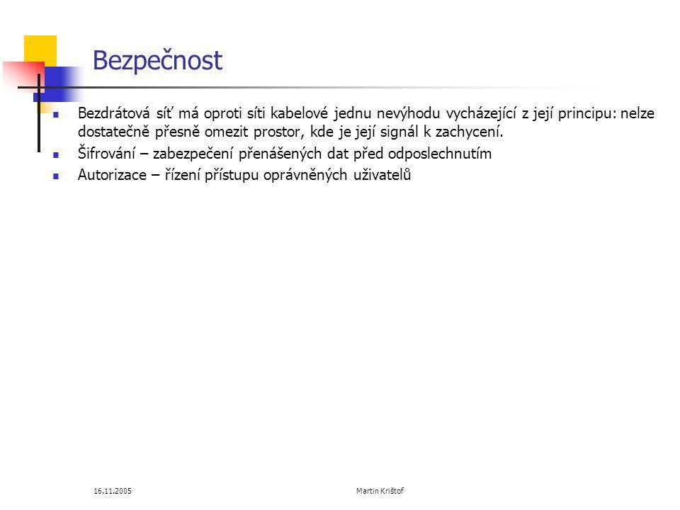 16.11.2005 Martin Krištof Bezpečnost  Bezdrátová síť má oproti síti kabelové jednu nevýhodu vycházející z její principu: nelze dostatečně přesně omezit prostor, kde je její signál k zachycení.