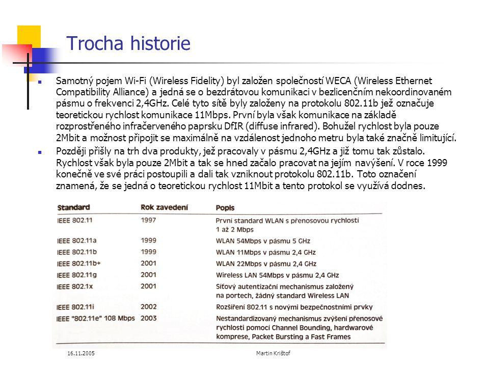 16.11.2005 Martin Krištof Trocha historie  Samotný pojem Wi-Fi (Wireless Fidelity) byl založen společností WECA (Wireless Ethernet Compatibility Alliance) a jedná se o bezdrátovou komunikaci v bezlicenčním nekoordinovaném pásmu o frekvenci 2,4GHz.
