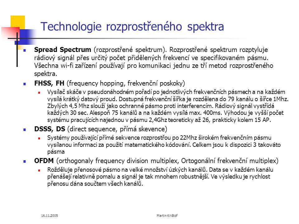 16.11.2005 Martin Krištof Technologie rozprostřeného spektra  Spread Spectrum (rozprostřené spektrum).