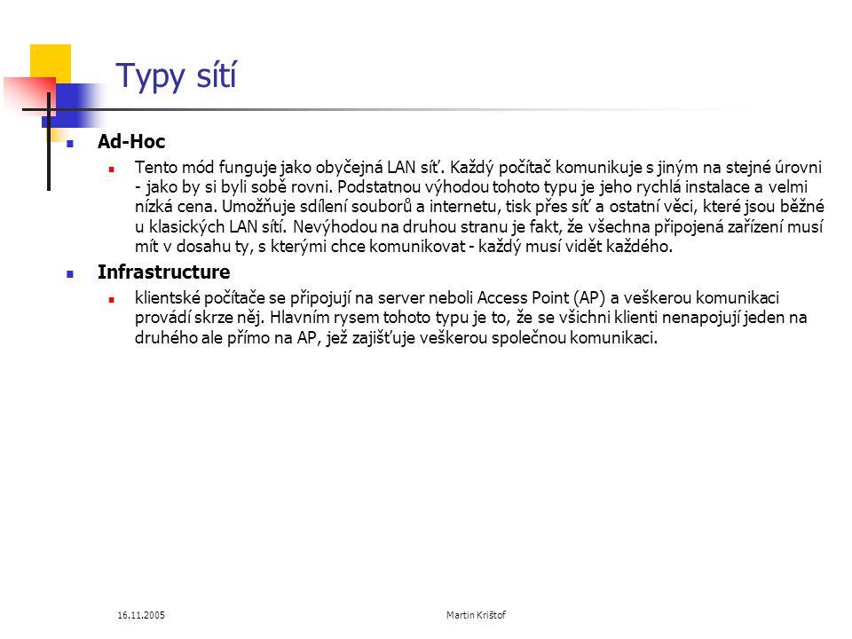 16.11.2005 Martin Krištof Typy sítí  Ad-Hoc  Tento mód funguje jako obyčejná LAN síť.