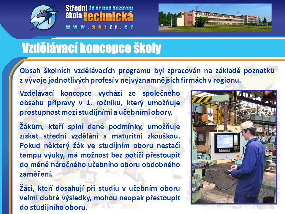 Obsah školních vzdělávacích programů byl zpracován na základě poznatků z vývoje jednotlivých profesí v nejvýznamnějších firmách v regionu. Vzdělávací