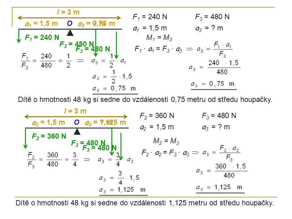 F 1 = 240 N F 3 = 480 N a 1 = 1,5 m a 3 = ? m O l = 3 m F 1 = 240 N a 1 = 1,5 m F 3 = 480 N a 3 = ? m F 1 · a 1 = F 3 · a 3 M 1 = M 3 a 3 = 0,75 m F 3
