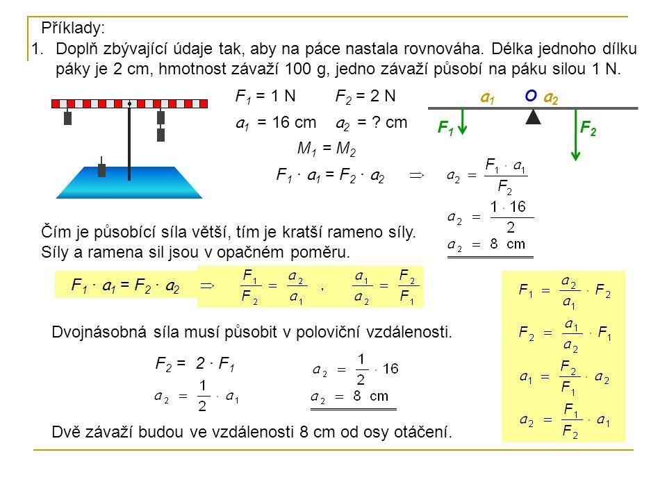 F 1 = 1 N a 1 = 16 cm F 2 = .