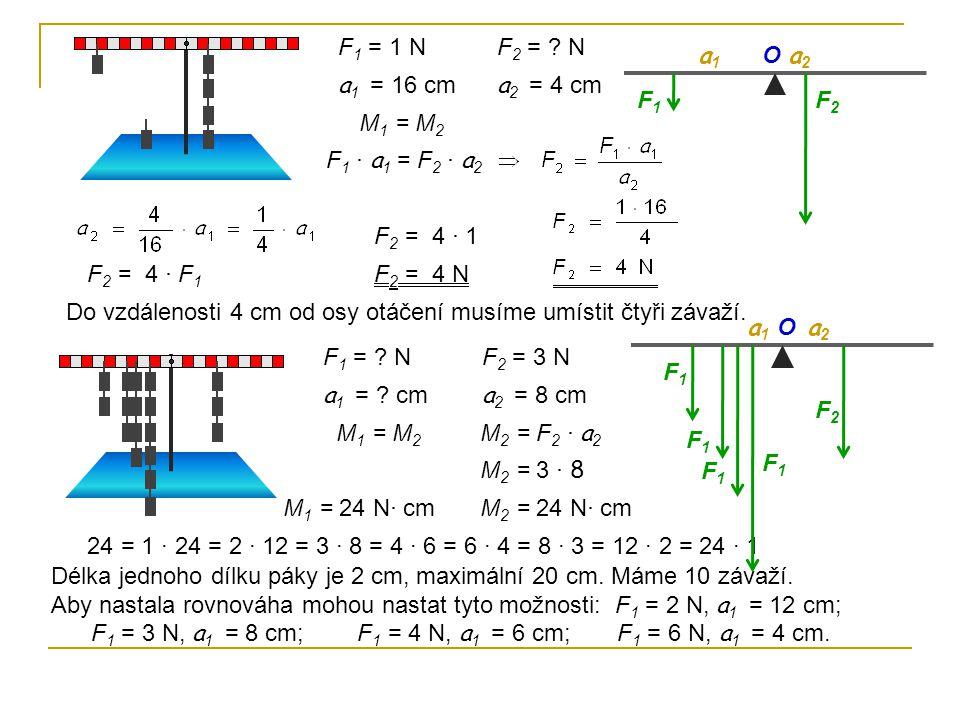 F 1 = 1 N a 1 = 16 cm F 2 = ? N a 2 = 4 cm F1F1 F2F2 a1a1 a2a2 M 1 = M 2 F 1 · a 1 = F 2 · a 2 O F 2 = 4 · F 1 F 2 = 4 · 1 F 2 = 4 N F 1 = ? N a 1 = ?