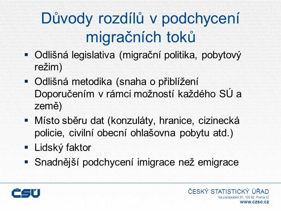 ČESKÝ STATISTICKÝ ÚŘAD Na padesátém 81, 100 82 Praha 10 www.czso.cz Důvody rozdílů v podchycení migračních toků  Odlišná legislativa (migrační politi