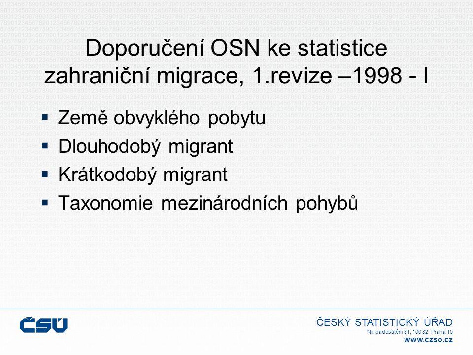 ČESKÝ STATISTICKÝ ÚŘAD Na padesátém 81, 100 82 Praha 10 www.czso.cz Doporučení OSN ke statistice zahraniční migrace, 1.revize –1998 - I  Země obvyklé