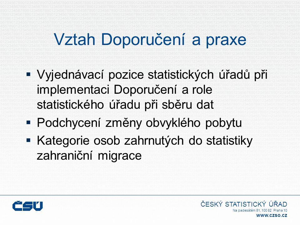 ČESKÝ STATISTICKÝ ÚŘAD Na padesátém 81, 100 82 Praha 10 www.czso.cz Vztah Doporučení a praxe  Vyjednávací pozice statistických úřadů při implementaci
