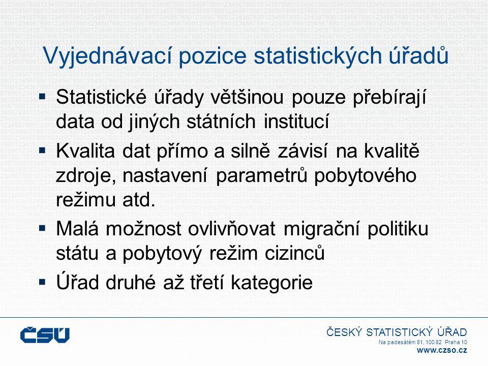 ČESKÝ STATISTICKÝ ÚŘAD Na padesátém 81, 100 82 Praha 10 www.czso.cz Vyjednávací pozice statistických úřadů  Statistické úřady většinou pouze přebíraj