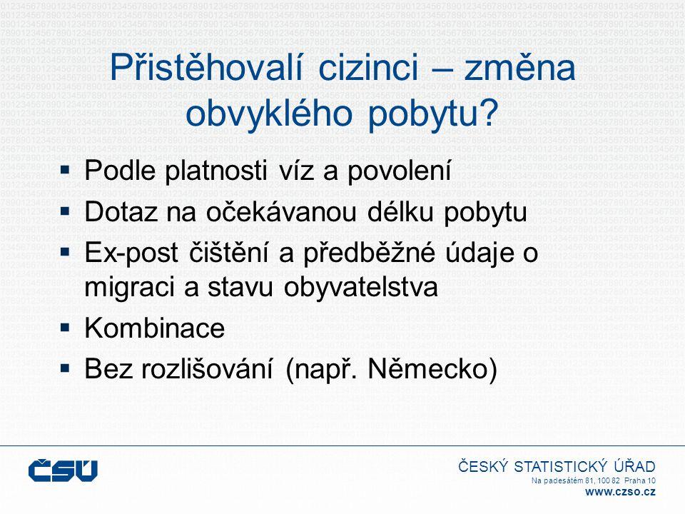 ČESKÝ STATISTICKÝ ÚŘAD Na padesátém 81, 100 82 Praha 10 www.czso.cz Přistěhovalí cizinci – změna obvyklého pobytu?  Podle platnosti víz a povolení 