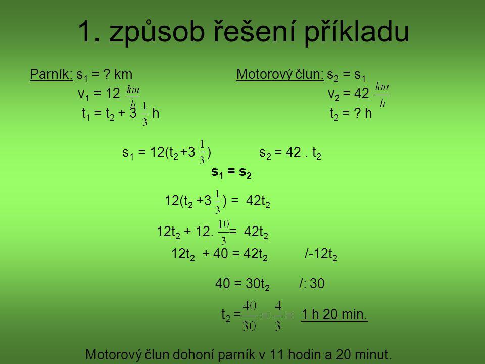 1. způsob řešení příkladu Parník: s 1 = ? km Motorový člun: s 2 = s 1 v 1 = 12 v 2 = 42 t 1 = t 2 + 3 h t 2 = ? h s 1 = 12(t 2 +3 ) s 2 = 42. t 2 s 1