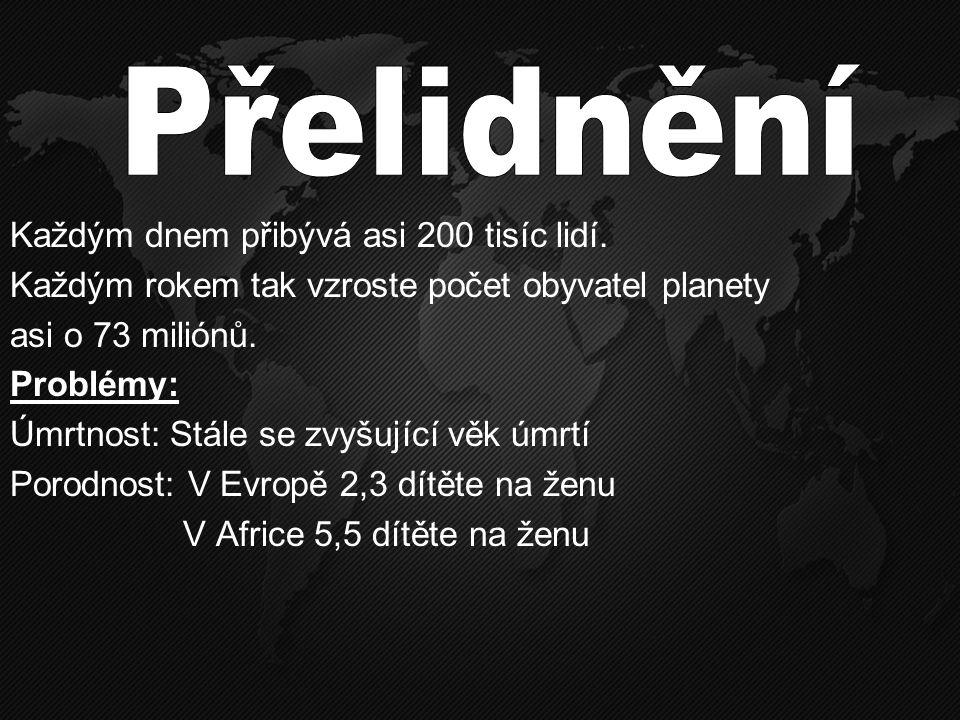 Každým dnem přibývá asi 200 tisíc lidí. Každým rokem tak vzroste počet obyvatel planety asi o 73 miliónů. Problémy: Úmrtnost: Stále se zvyšující věk ú