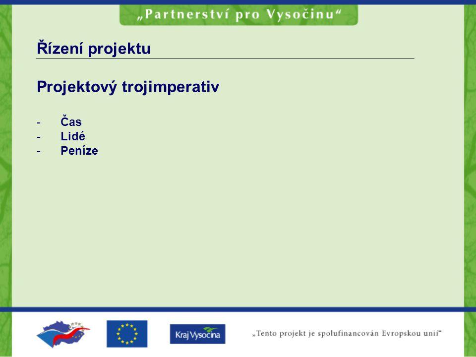Řízení projektu Projektový trojimperativ -Čas -Lidé -Peníze
