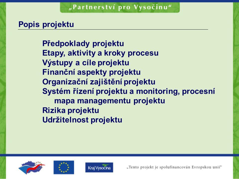 Popis projektu Předpoklady projektu Etapy, aktivity a kroky procesu Výstupy a cíle projektu Finanční aspekty projektu Organizační zajištění projektu S