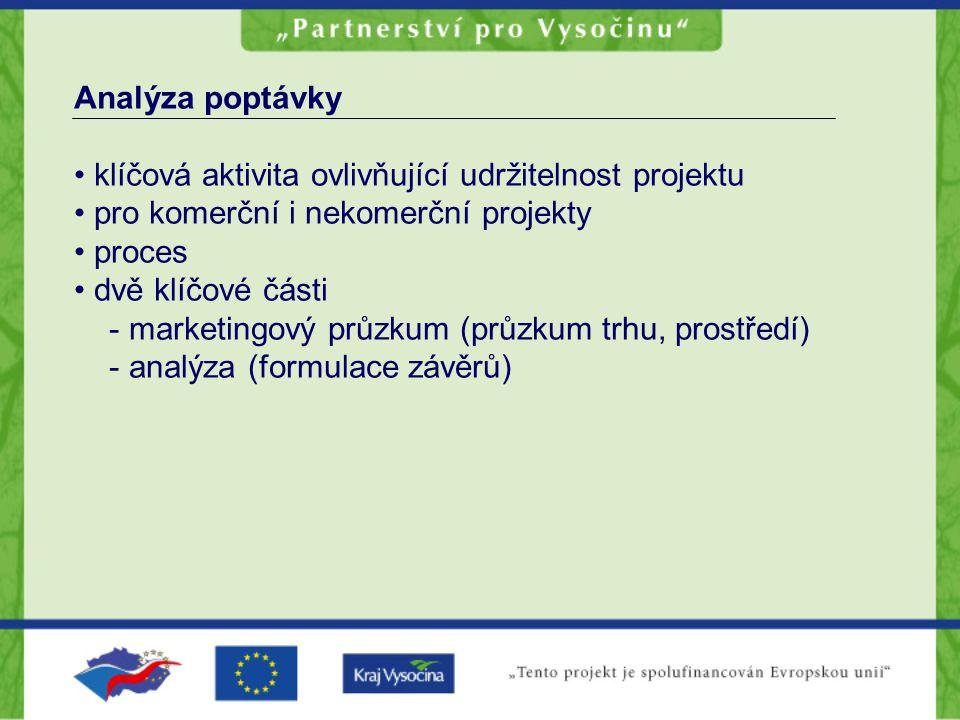 Analýza poptávky • klíčová aktivita ovlivňující udržitelnost projektu • pro komerční i nekomerční projekty • proces • dvě klíčové části - marketingový