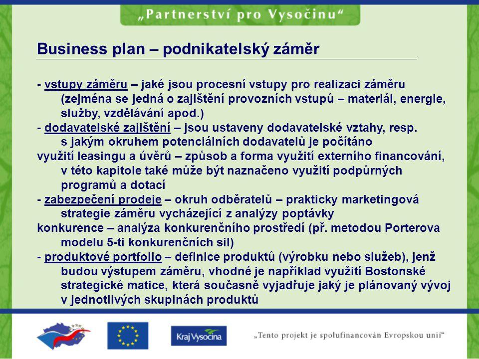 Business plan – podnikatelský záměr - vstupy záměru – jaké jsou procesní vstupy pro realizaci záměru (zejména se jedná o zajištění provozních vstupů –