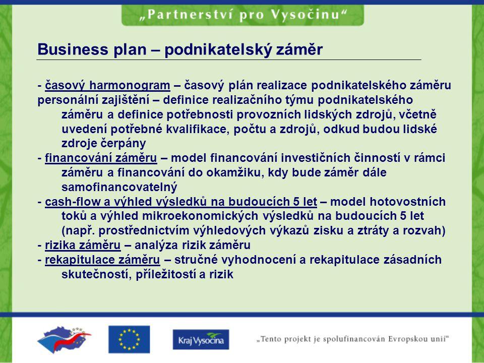 Business plan – podnikatelský záměr - časový harmonogram – časový plán realizace podnikatelského záměru personální zajištění – definice realizačního t