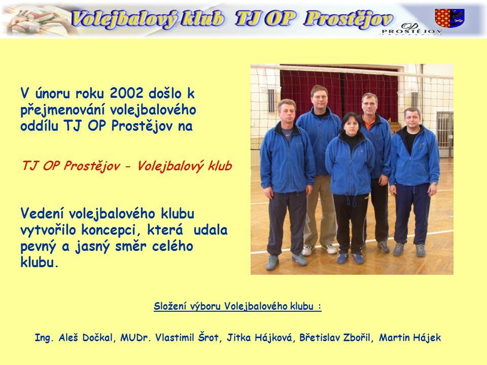 V únoru roku 2002 došlo k přejmenování volejbalového oddílu TJ OP Prostějov na TJ OP Prostějov - Volejbalový klub Vedení volejbalového klubu vytvořilo koncepci, která udala pevný a jasný směr celého klubu.