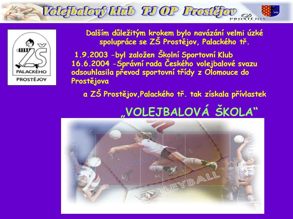 V únoru roku 2002 došlo k přejmenování volejbalového oddílu TJ OP Prostějov na TJ OP Prostějov - Volejbalový klub Vedení volejbalového klubu vytvořilo