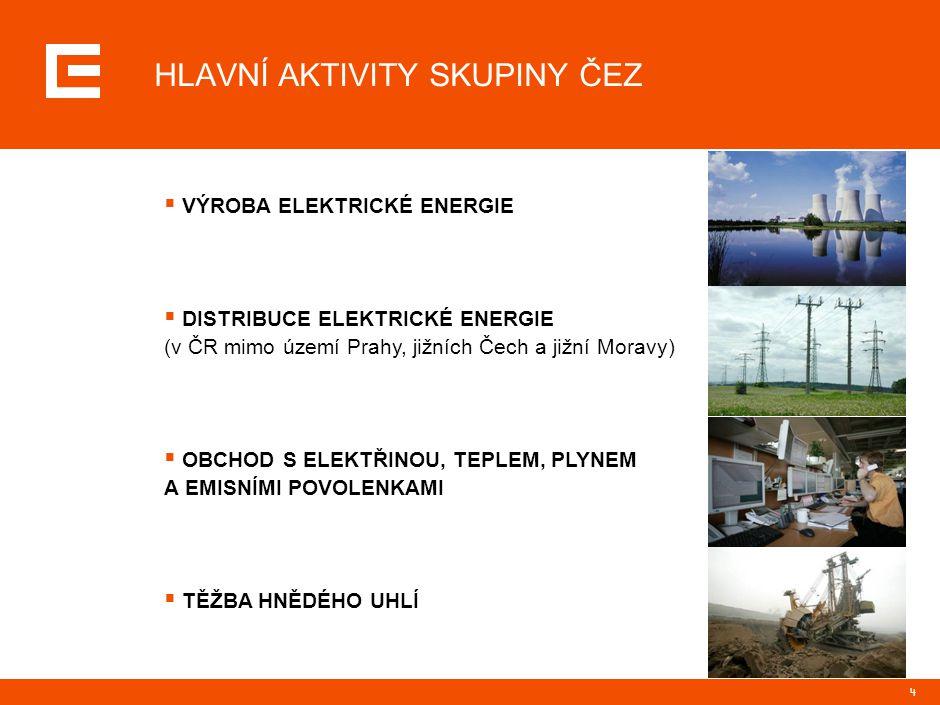 4 HLAVNÍ AKTIVITY SKUPINY ČEZ  VÝROBA ELEKTRICKÉ ENERGIE  DISTRIBUCE ELEKTRICKÉ ENERGIE (v ČR mimo území Prahy, jižních Čech a jižní Moravy)  OBCHO