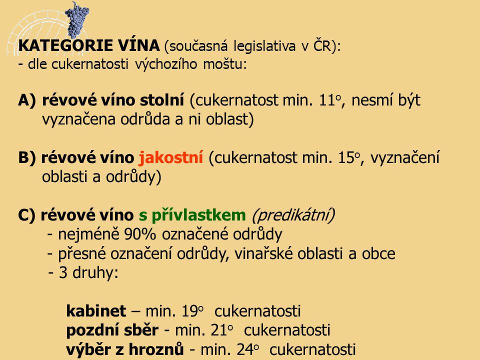 KATEGORIE VÍNA (současná legislativa v ČR): - dle cukernatosti výchozího moštu: A) A)révové víno stolní (cukernatost min. 11 o, nesmí být vyznačena od