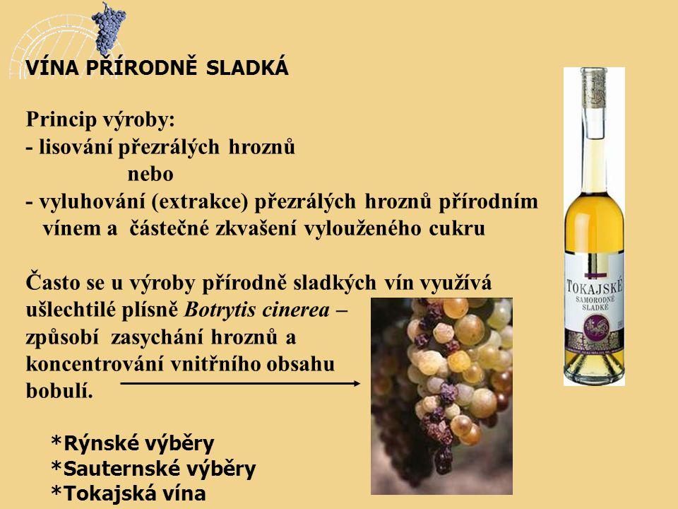 VÍNA PŘÍRODNĚ SLADKÁ Princip výroby: - lisování přezrálých hroznů nebo - vyluhování (extrakce) přezrálých hroznů přírodním vínem a částečné zkvašení v