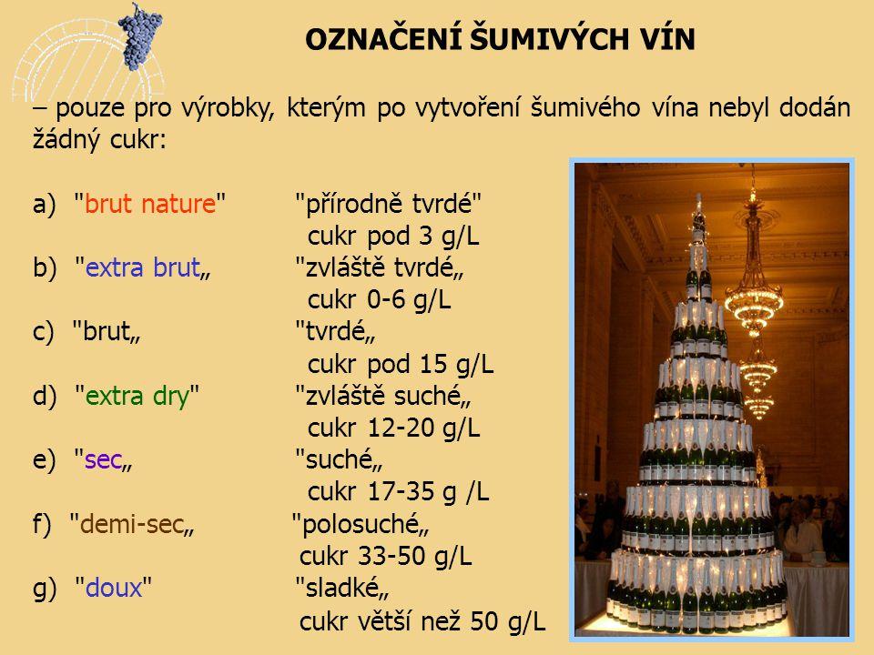OZNAČENÍ ŠUMIVÝCH VÍN – pouze pro výrobky, kterým po vytvoření šumivého vína nebyl dodán žádný cukr: a)