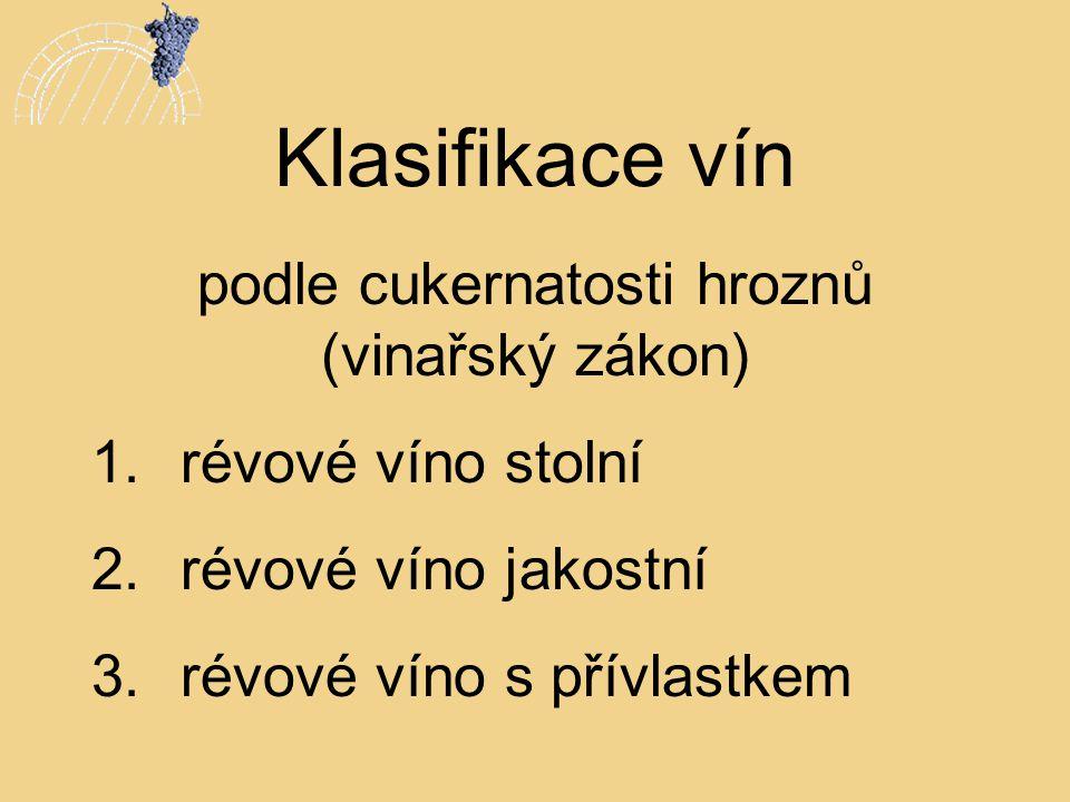 Klasifikace vín podle cukernatosti hroznů (vinařský zákon) 1.révové víno stolní 2.révové víno jakostní 3.révové víno s přívlastkem