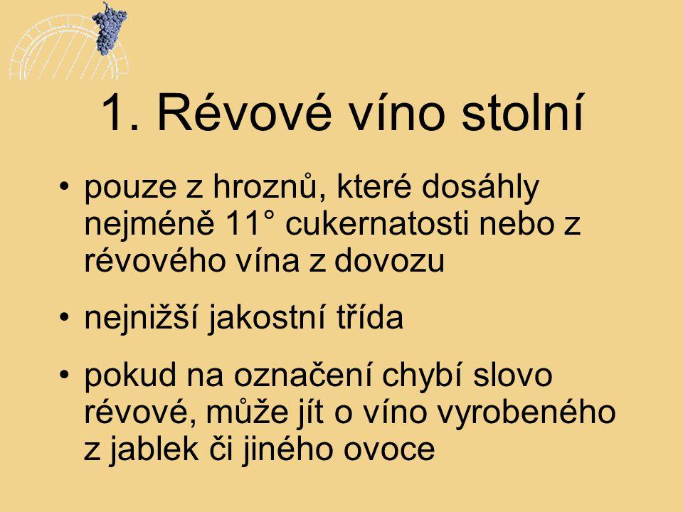 1. Révové víno stolní •pouze z hroznů, které dosáhly nejméně 11° cukernatosti nebo z révového vína z dovozu •nejnižší jakostní třída •pokud na označen