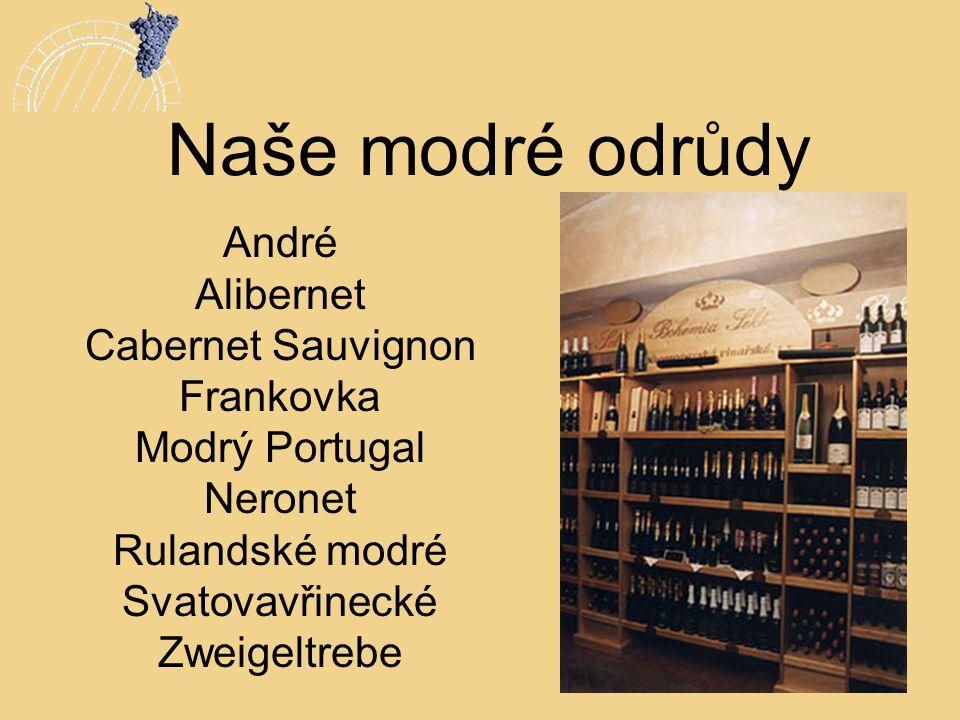 Naše modré odrůdy André Alibernet Cabernet Sauvignon Frankovka Modrý Portugal Neronet Rulandské modré Svatovavřinecké Zweigeltrebe