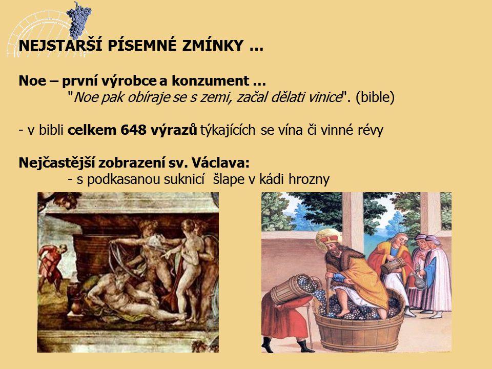 NEJSTARŠÍ PÍSEMNÉ ZMÍNKY … Noe – první výrobce a konzument …