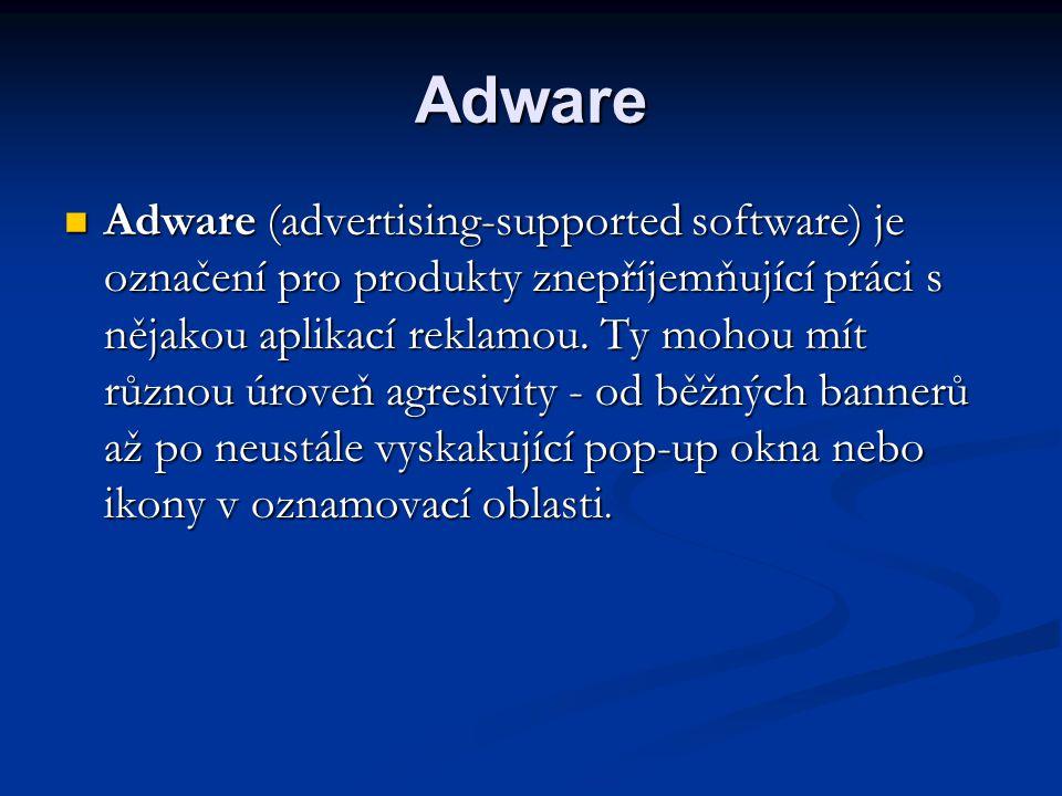 Adware  Adware (advertising-supported software) je označení pro produkty znepříjemňující práci s nějakou aplikací reklamou. Ty mohou mít různou úrove