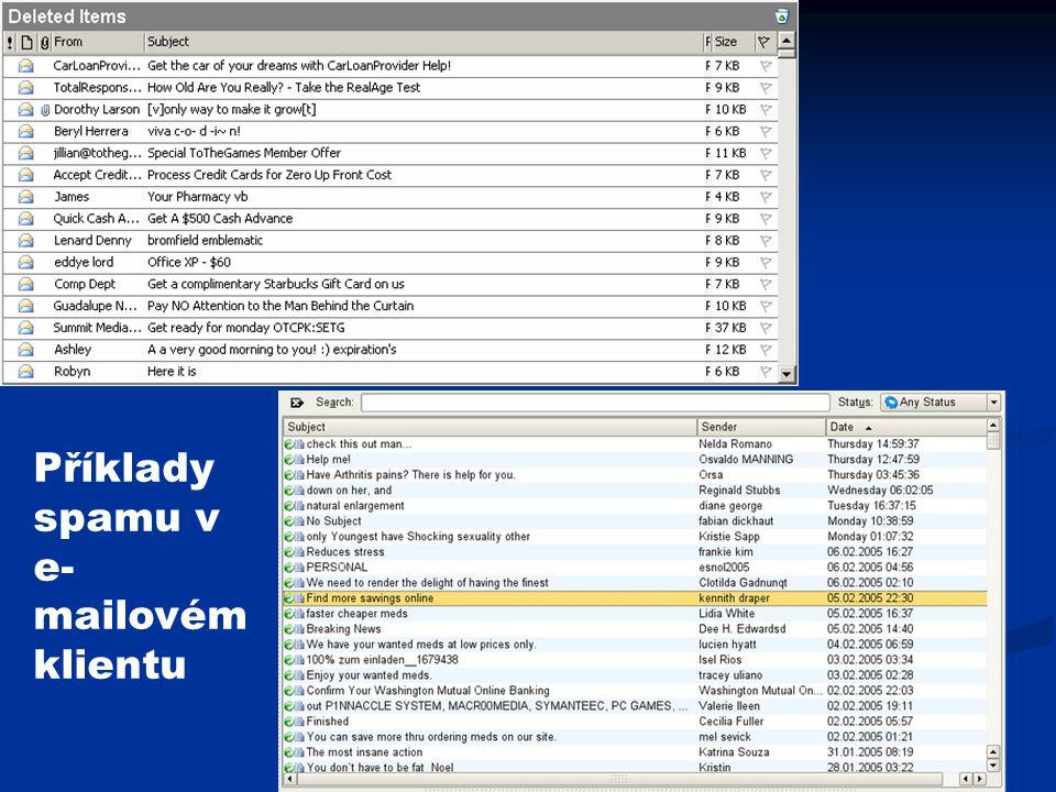 Příklady spamu v e- mailovém klientu