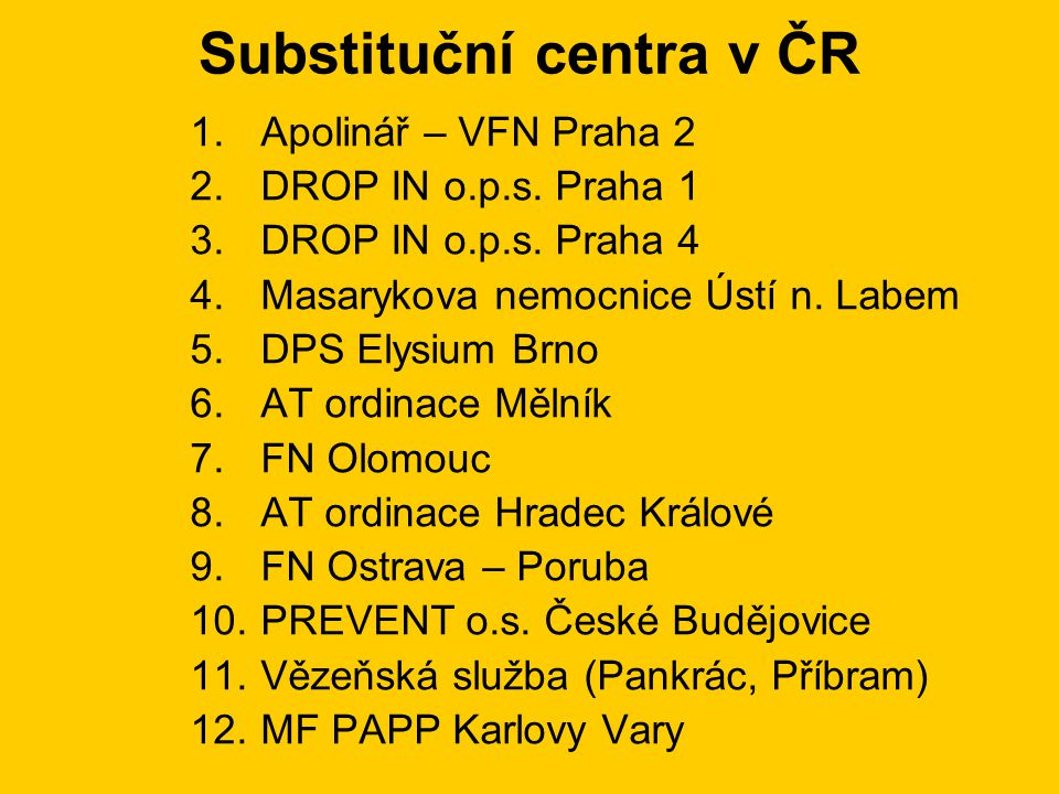 Substituční centra v ČR 1.Apolinář – VFN Praha 2 2.DROP IN o.p.s.