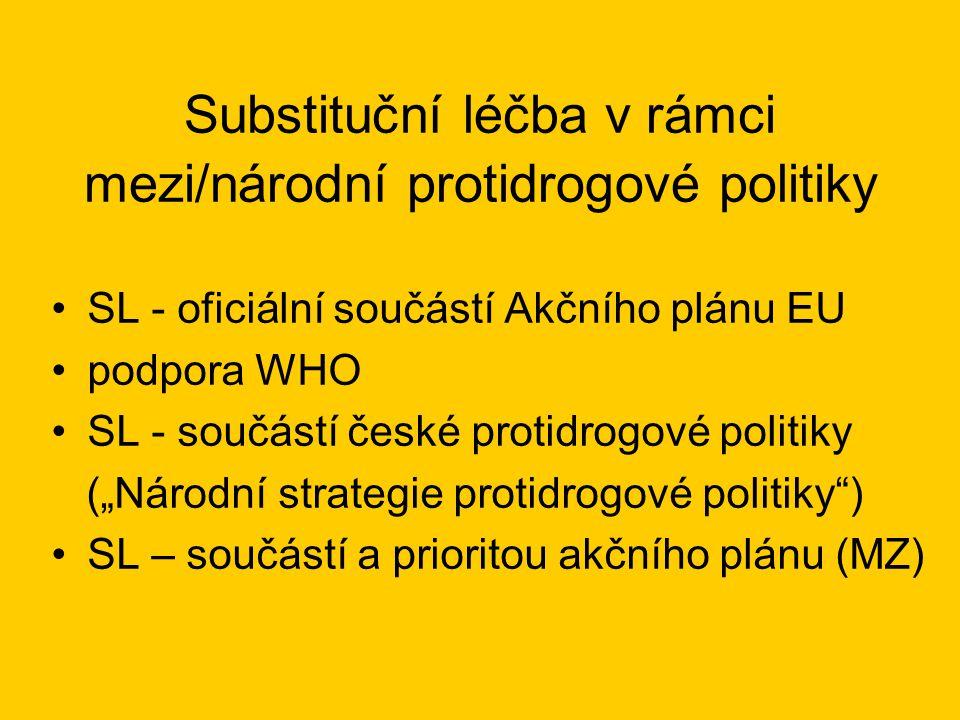 """Substituční léčba v rámci mezi/národní protidrogové politiky •SL - oficiální součástí Akčního plánu EU •podpora WHO •SL - součástí české protidrogové politiky (""""Národní strategie protidrogové politiky ) •SL – součástí a prioritou akčního plánu (MZ)"""