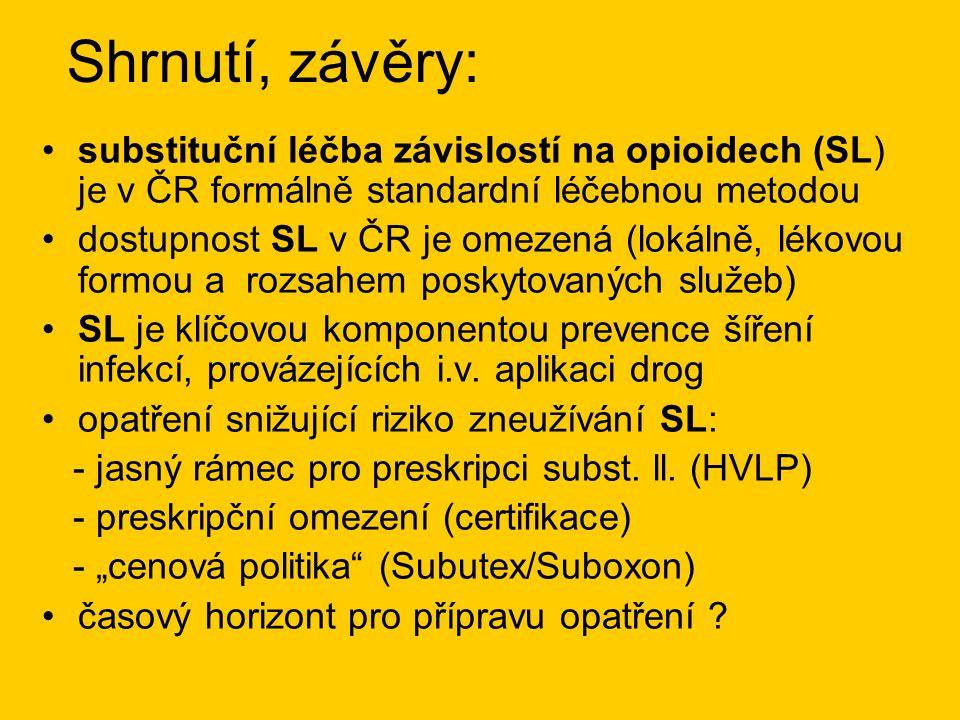 Shrnutí, závěry: •substituční léčba závislostí na opioidech (SL) je v ČR formálně standardní léčebnou metodou •dostupnost SL v ČR je omezená (lokálně, lékovou formou a rozsahem poskytovaných služeb) •SL je klíčovou komponentou prevence šíření infekcí, provázejících i.v.