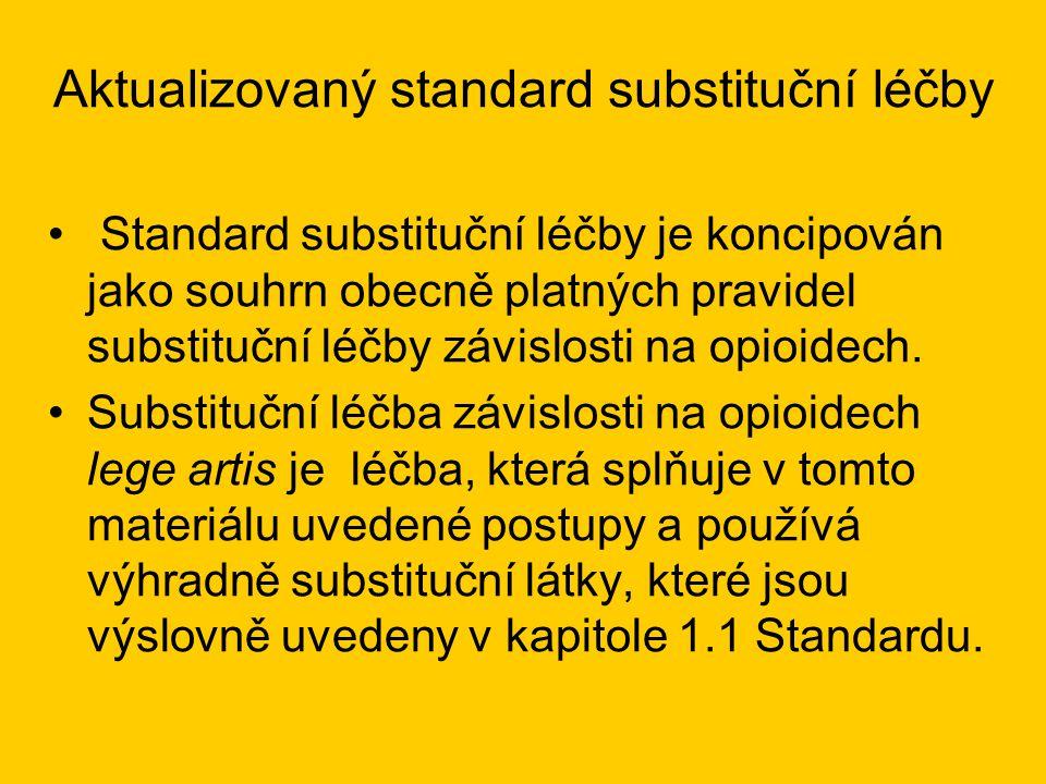 Aktualizovaný standard substituční léčby •Úvod, obecné definice, MKN-10 •Definice a charakteristika substituční léčby •Cíle substituční léčby •Personální a technické předpoklady •Typy substituční léčby •Vstupní podmínky procesu péče •Terapie •Návaznost na další standardy •Obecné přílohy •Speciální přílohy